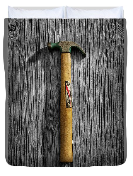 Tools On Wood 17 On Bw Duvet Cover by YoPedro