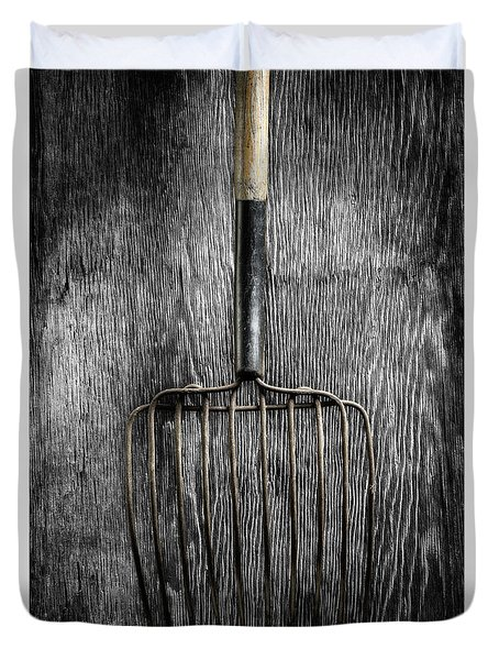 Tools On Wood 25 On Bw Duvet Cover by YoPedro