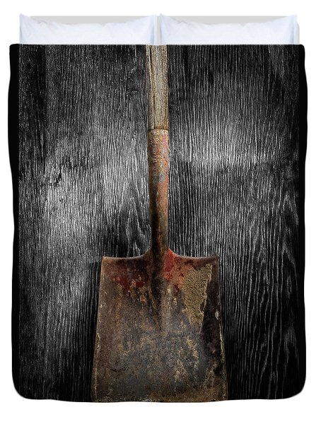 Tools On Wood 4 On Bw Duvet Cover by YoPedro