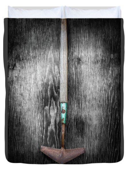 Tools On Wood 5 On Bw Duvet Cover by YoPedro