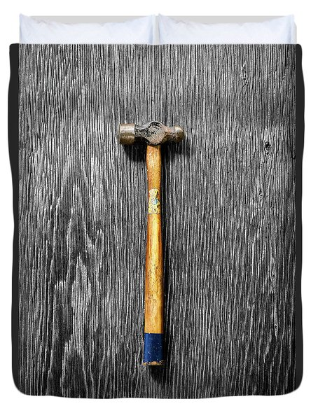 Tools On Wood 51 On Bw Duvet Cover by YoPedro