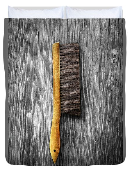 Tools On Wood 52 On Bw Duvet Cover by YoPedro