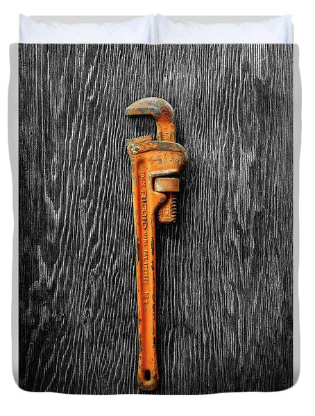 Tools On Wood 60 On Bw Duvet Cover by YoPedro