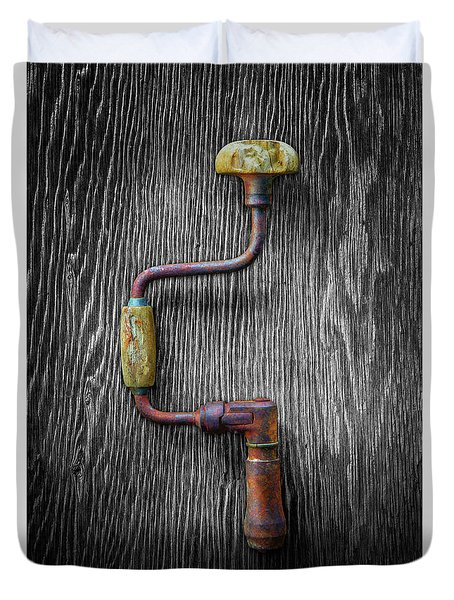 Tools On Wood 61 On Bw Duvet Cover by YoPedro