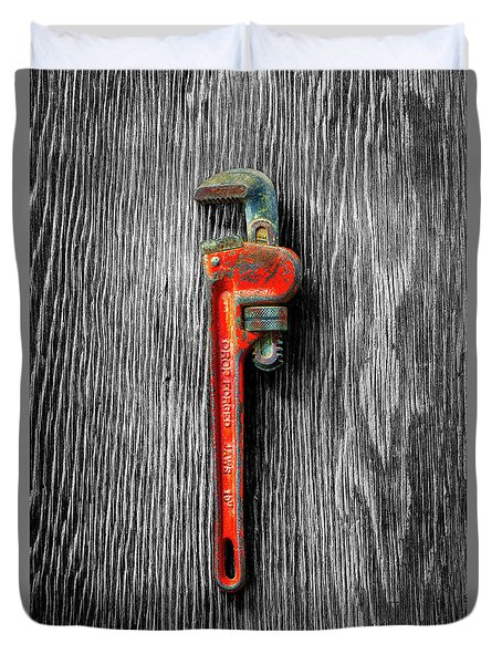 Tools On Wood 62 On Bw Duvet Cover by YoPedro