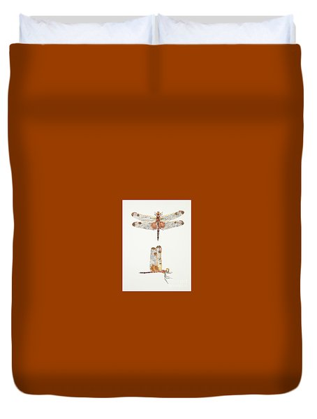 Top And Side Views Of A Male Calico Pennant Dragonfly Duvet Cover