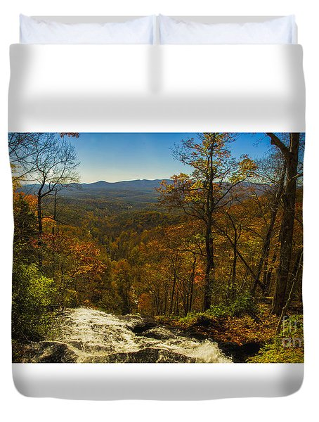 Duvet Cover featuring the photograph Top Of Amicola Falls by Barbara Bowen