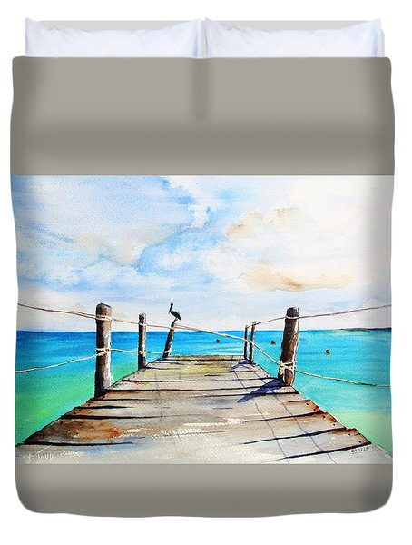 Top Of Old Pier On Playa Paraiso Duvet Cover