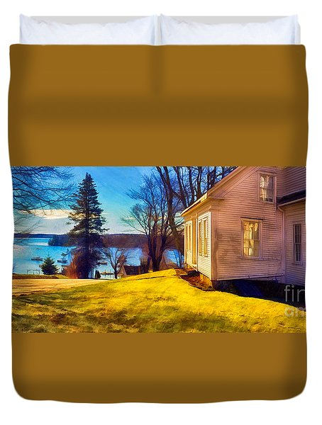 Top Of The Hill, Friendship, Maine Duvet Cover by Dave Higgins