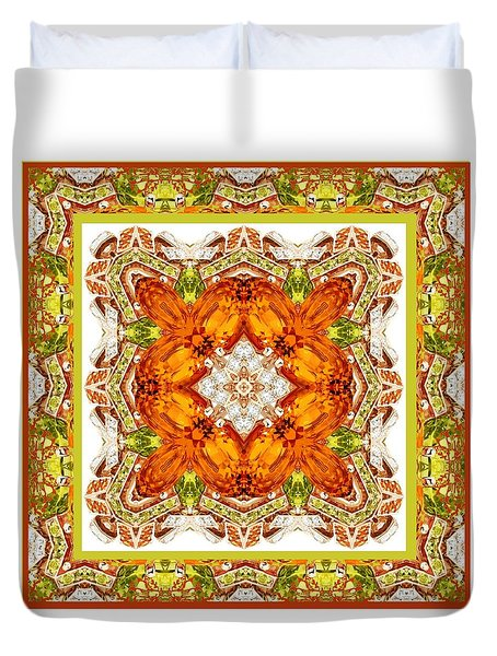 Topaz And Peridot Bling Kaleidoscope Duvet Cover