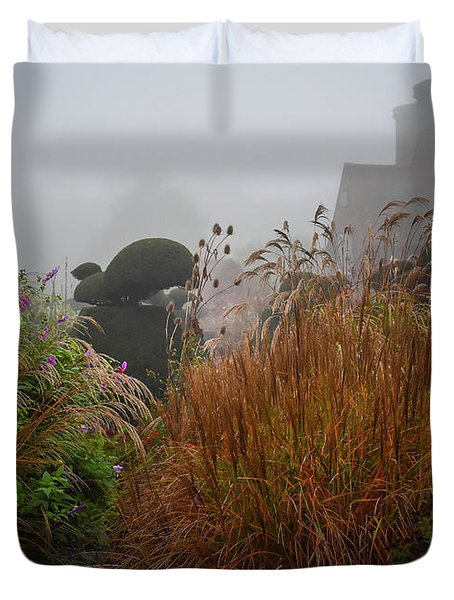 Topiary Peacocks In The Autumn Mist, Great Dixter 2 Duvet Cover