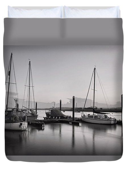 Topsham Boats At Dusk Duvet Cover