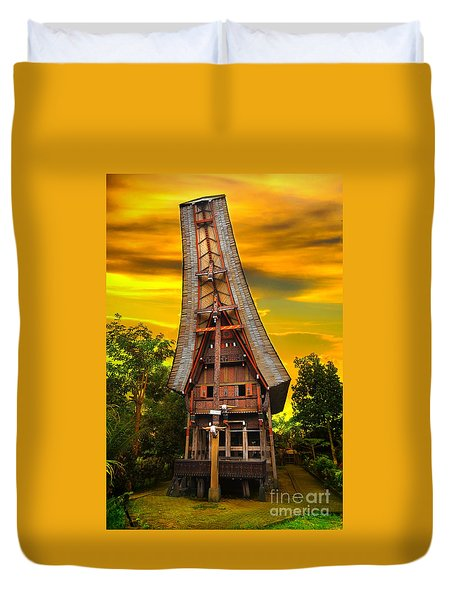 Duvet Cover featuring the photograph Toraja Architecture by Charuhas Images