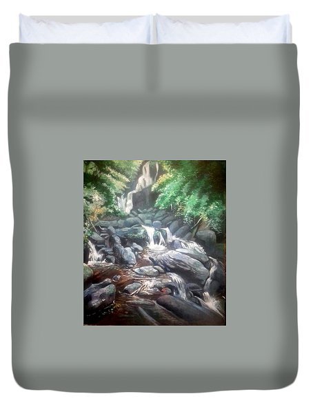 Duvet Cover featuring the painting Torc Waterfall County Kerry Ireland by Paul Weerasekera
