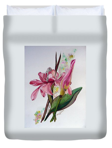 Torch Ginger  Lily Duvet Cover by Karin  Dawn Kelshall- Best