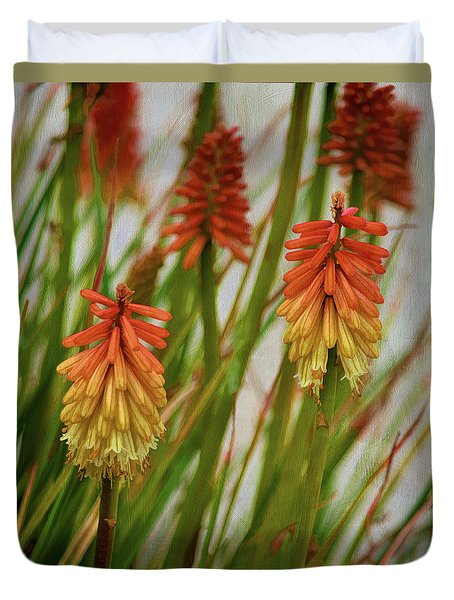 Torch Lily At The Beach Duvet Cover by Sandi OReilly
