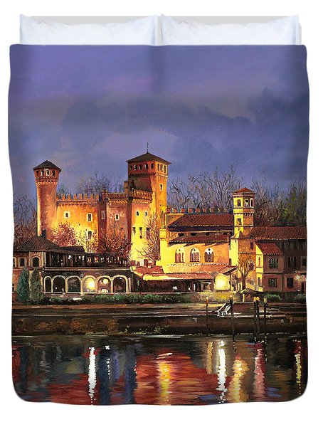 Torino-il Borgo Medioevale Di Notte Duvet Cover