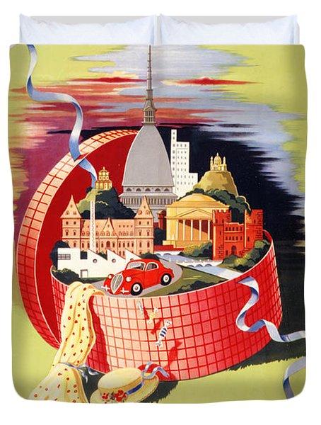 Torino Turin Italy Vintage Travel Poster Restored Duvet Cover