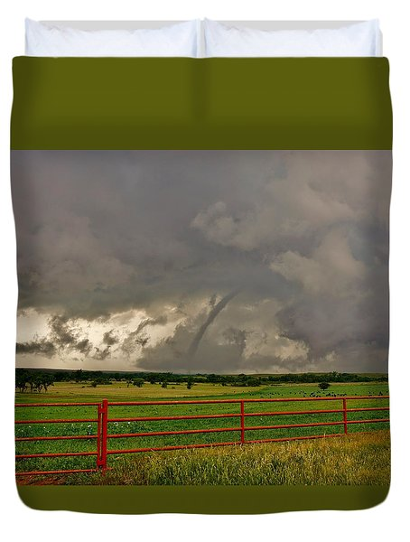 Duvet Cover featuring the photograph Tornado At The Ranch by Ed Sweeney