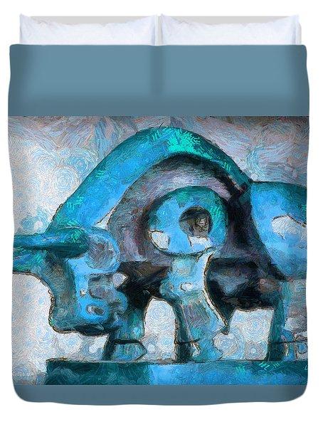 Toro Caminando Cyan - Pa Duvet Cover