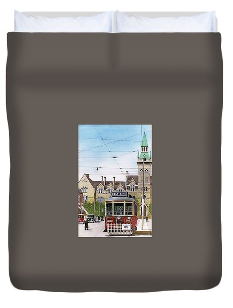 Duvet Cover featuring the painting Toronto Belt Line by Kenneth M Kirsch