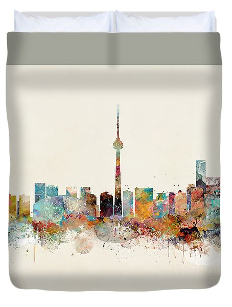 Duvet Cover featuring the painting Toronto City Skyline by Bri B