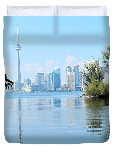 Toronto From The Islands Park Duvet Cover by Ian  MacDonald