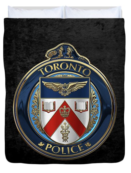 Duvet Cover featuring the digital art Toronto Police Service  -  T P S  Emblem Over Black Velvet by Serge Averbukh