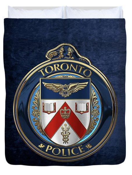 Duvet Cover featuring the digital art Toronto Police Service  -  T P S  Emblem Over Blue Velvet by Serge Averbukh