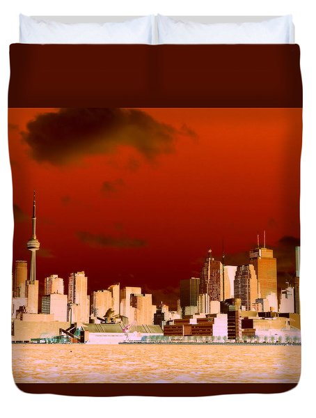 Duvet Cover featuring the photograph Toronto Red Skyline by Valentino Visentini
