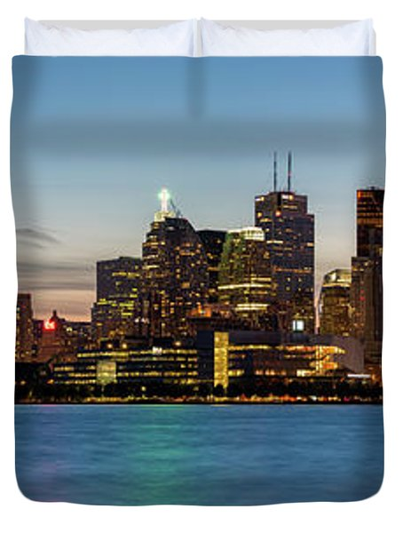 Duvet Cover featuring the photograph Toronto Skyline At Dusk Panoramic by Adam Romanowicz