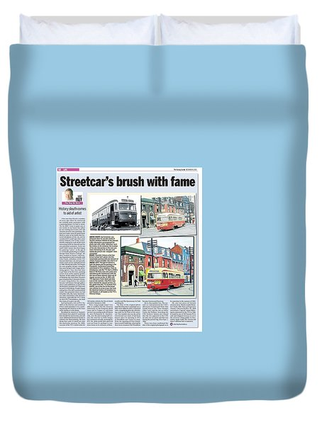 Duvet Cover featuring the painting Toronto Sun Article Streetcars Brush With Fame by Kenneth M Kirsch