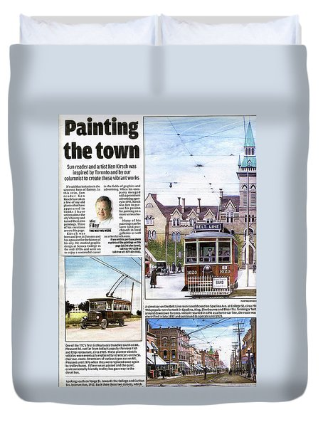 Duvet Cover featuring the painting Toronto Sun Article Painting The Town by Kenneth M Kirsch