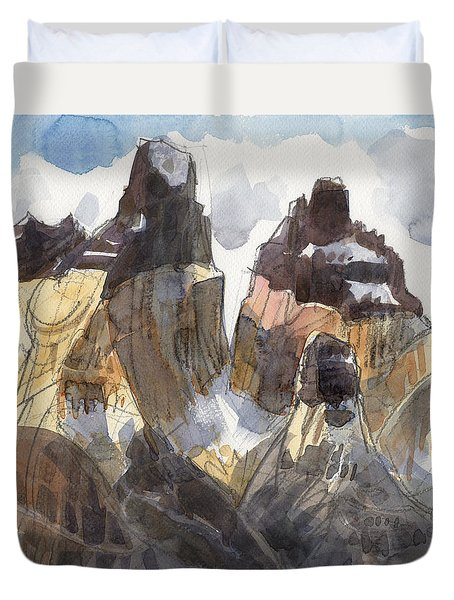 Duvet Cover featuring the painting Torres Del Paine, Chile by Judith Kunzle