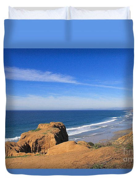 Duvet Cover featuring the photograph Torrey Pines Glow by Suzanne Oesterling