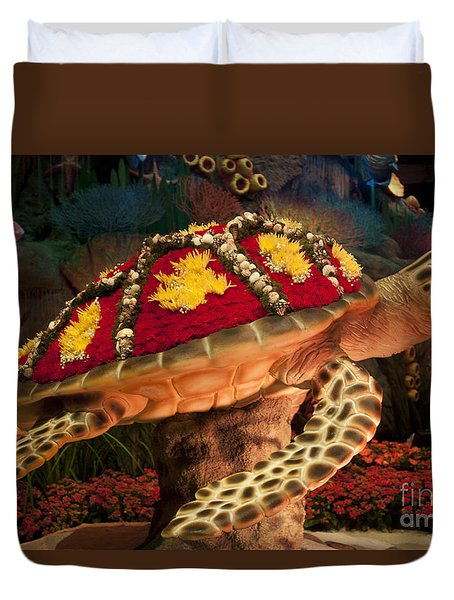 Tortoise With Flowers Duvet Cover by Ivete Basso Photography