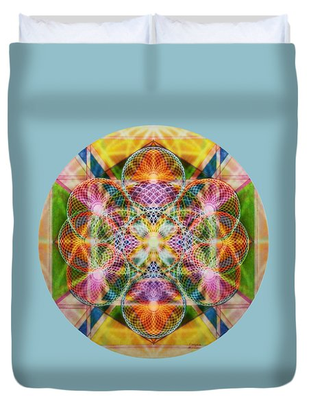 Duvet Cover featuring the digital art Torusphere Synthesis Bright Beginning Soulin I by Christopher Pringer