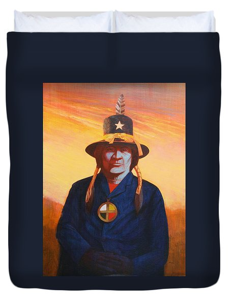 Tosh-a-wah,peneteka Comanche Chief Duvet Cover by J W Kelly