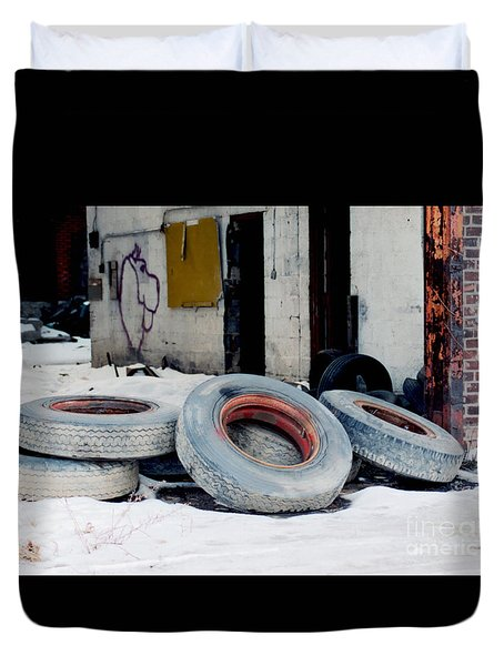 Tossed Off Tires In A Detroit Alley  Duvet Cover