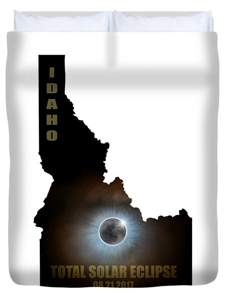 Total Solar Eclipse In Idaho Map Outline Duvet Cover by David Gn
