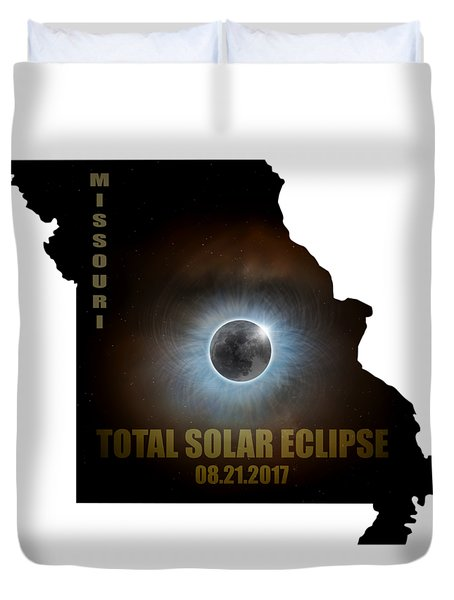 Total Solar Eclipse In Missouri Map Outline Duvet Cover by David Gn