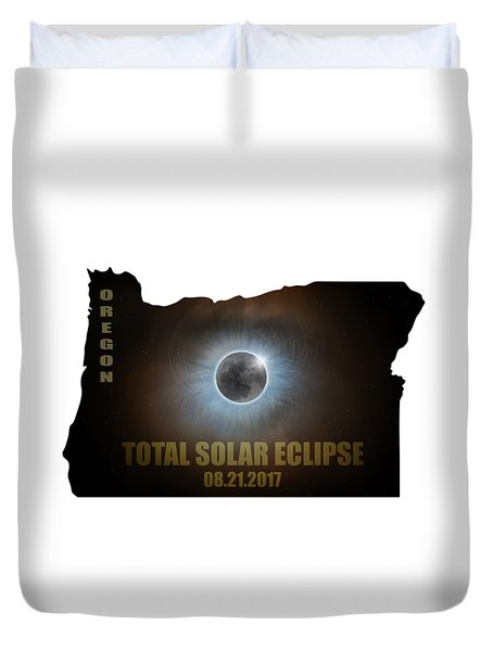 Total Solar Eclipse In Oregon Map Outline Duvet Cover by David Gn