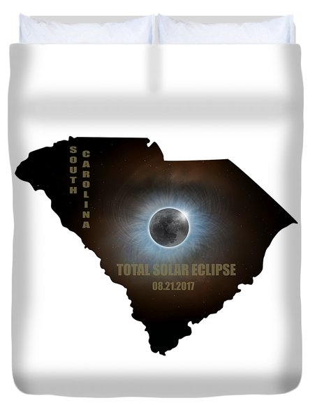 Total Solar Eclipse In South Carolina Map Outline Duvet Cover by David Gn