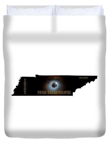 Total Solar Eclipse In Tennessee Map Outline Duvet Cover by David Gn
