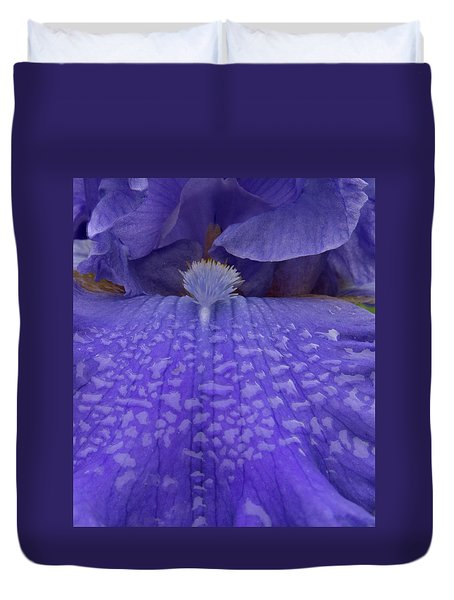 Duvet Cover featuring the photograph Totally Blue Iris by Jean Noren