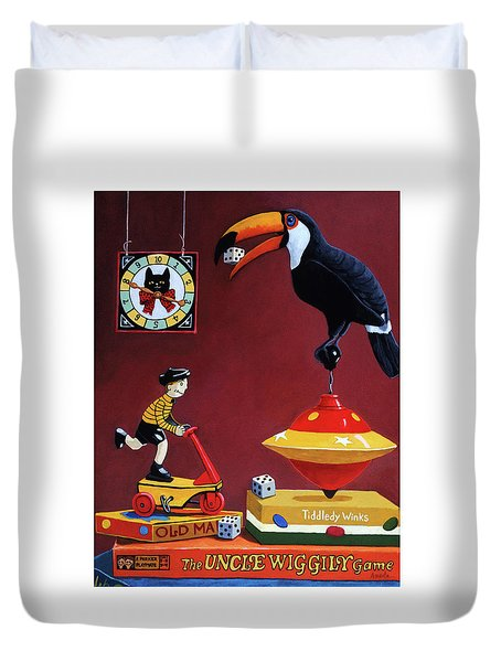 Duvet Cover featuring the painting Toucan Play At This Game by Linda Apple