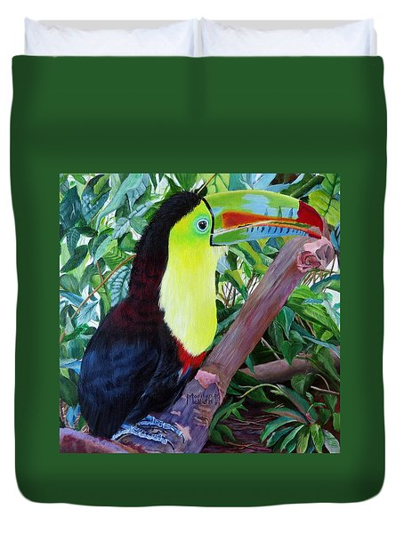 Toucan Portrait 2 Duvet Cover by Marilyn McNish