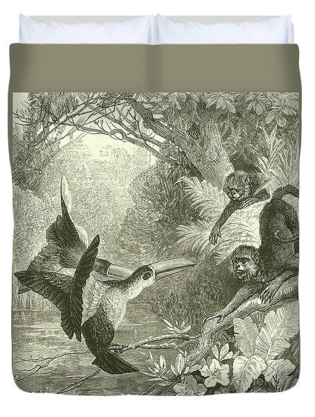 Toucans And Monkeys Duvet Cover