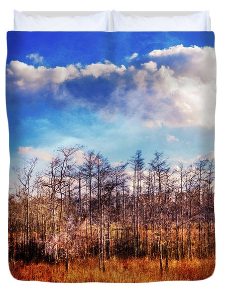 Duvet Cover featuring the photograph Touch Of Autumn In The Glades by Debra and Dave Vanderlaan