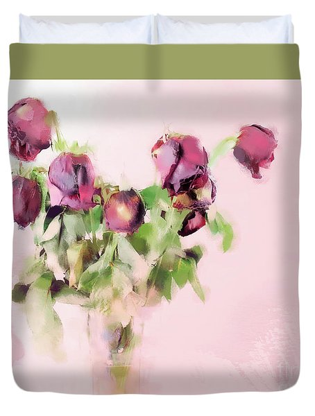 Duvet Cover featuring the mixed media Touchable by Betty LaRue
